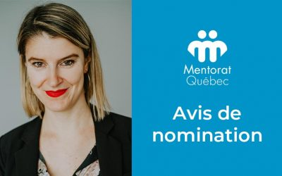 Nomination de madame Éliane Legault-Roy à titre d'administratrice de Mentorat Québec