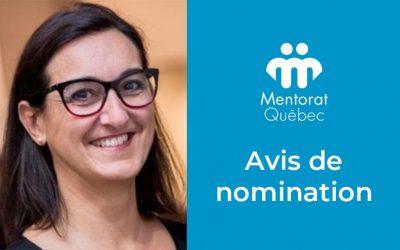 Nomination de madame Valérie Danger à titre d'administratrice de Mentorat Québec